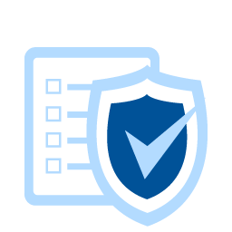 business insurance icon - shield with a checkmark over documents