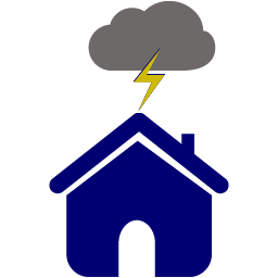 Personal Insurance Icon - Stormy House with Lightening